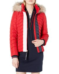 Tommy Hilfiger Puffer Jacket With Faux Fur Hood - Red