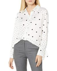 Tahari Long Sleeve Button Front Blouse - White
