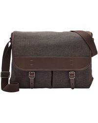 Fossil Buckner Leather Trim Messenger Bag - Black