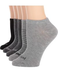 Timberland Ladies 5-pair Pack Cotton Blend Simple Stripe No Show Socks One Size - Gray