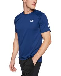 Peak Velocity Channel-knit Performance Short Sleeve Quick-dry Athletic-fit Run - Blue