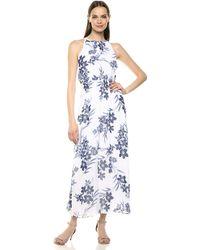 Nine West Smocked Halter Neckline Maxi Dress - Blue