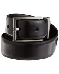 Calvin Klein Smooth Leather Reversible Feather-edge Belt - Black