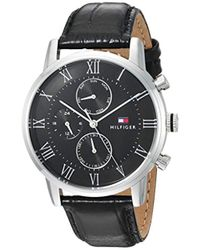 Tommy Hilfiger - 'sophisticated Sport' Quartz Stainless Steel And Leather Casual Watch, Color:black (model: 1791401) - Lyst