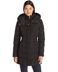 ccf80880d3d7 Cole Haan - Taffeta Down Coat With Bib Front And Dramatic Hood - Lyst