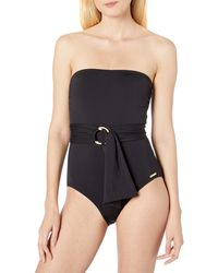 Vince Camuto Bandeau One Piece Swimsuit With Wrap Detail - Black