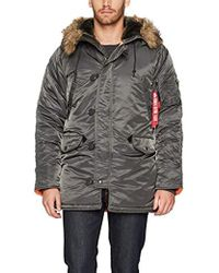 Alpha Industries - N-3b Slim-fit Parka Coat With Removable Faux-fur Hood Trim - Lyst