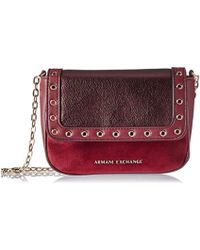 c4cbe831 Armani Exchange Leather Red Chain Strap Cross Body Bag - Lyst