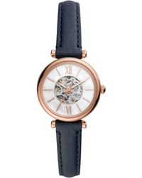 Fossil Stainless Steel Quartz Watch With Leather Strap - Blue