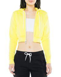 American Apparel Flex Fleece Cropped Long Sleeve Zip Hoodie - Yellow