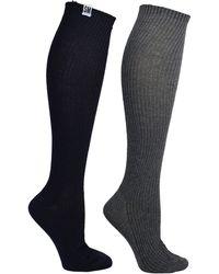Steve Madden Legwear 2pk Ribbed Knee High With Tag Sm45381 - Black