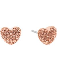 Michael Kors Brilliance Pave Hearts Rose Gold-tone And Peach Crystal Heart Stud Earrings - Pink