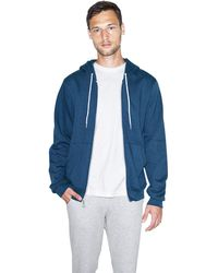 American Apparel Unisex Flex Fleece Long Sleeve Zip Hoodie - Usa Collection, Sea Blue, Large