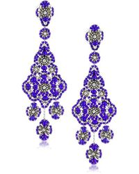 Miguel Ases - Sterling Silver, Crystal, And Bead Grand Eye Earrings - Lyst