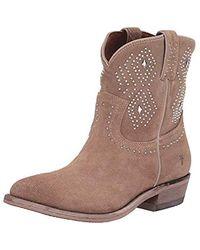 Frye Billy Stud Short Western Boot - Brown