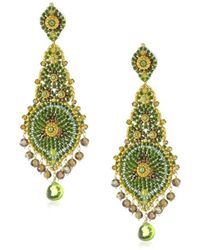 Miguel Ases - Long Lotus With Peridot Quartz Drop Earrings - Lyst