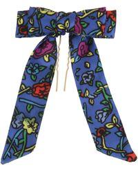 Betsey Johnson Mixed Floral Motif Bow Hair Pin - Blue