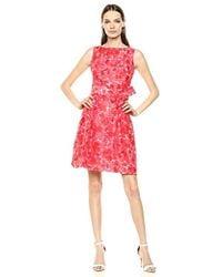 Anne Klein Shadow Stripe Fit & Flare Dress - Red