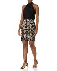Vince Camuto Halter Neck Blouson With Fitted Skirt - Black