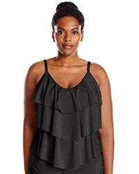 8906485040d Kenneth Cole Reaction Flounce Tankini Swimsuit Top in Black - Save 32% -  Lyst
