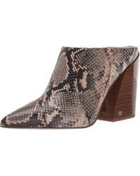 Sam Edelman Reverie 2 Snake Print Leather Pointed Toe Stacked Block Heel Mules - Multicolor