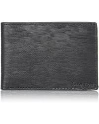 Calvin Klein Textured Leather Slimfold Wallet - Black