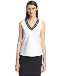 SOCIETY NEW YORK Sleeveless Beaded V-neck Top - White