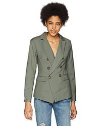 C/meo Collective - Double Breasted Blazer With Front Pockets And Button Detail, Khaki, Xs - Lyst