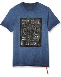 Buffalo David Bitton Short Sleeve Crew Neck T-shirt With Screen Print - Blue