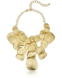 Kenneth Jay Lane Satin Gold-plated Hammered Bib Necklace - Metallic