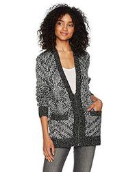 Volcom Grampaw Zip Up Cardigan With Jacquard Pattern - Black