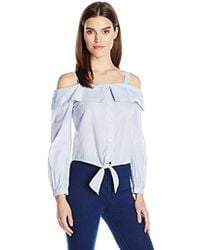 Jessica Simpson Violet Cold Shoulder Top - Blue