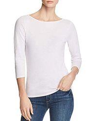 Three Dots Womens Montauk Stripe 3//4 SLV Short Tight Shirt