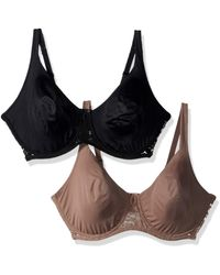 Ellen Tracy 2 Pack Soft Lined Bra With Floral Lace Bra - Black