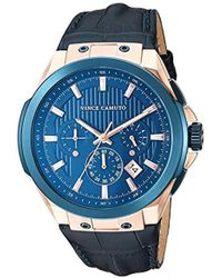 Vince Camuto Vc/1111nvrb Multi-function Rose Gold-tone And Navy Blue Croco-grain Leather Strap Watch