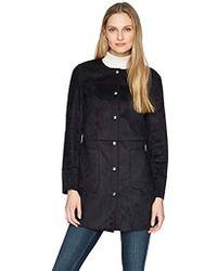 Ellen Tracy Snap Front Reversible Suede Coat - Black