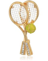 Napier Box Tennis Racket Brooches And Pins - Metallic