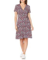 Amazon Essentials Cap-Sleeve Faux-Wrap Dress Dresses - Multicolore