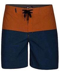 "Hurley Phantom Stretch Printed 18"" Straight Hem Boardshort Swim Short - Blue"