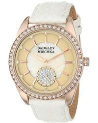 Badgley Mischka Ba/1316pmrg Swarovski Crystal Accented Rose Gold-tone White Snakeskin Strap Watch - Multicolor