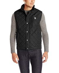 U.S. POLO ASSN. - Diamond-quilted Vest With Corduroy Collar - Lyst