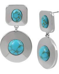 Kenneth Cole Cabochon Double Drop Earrings - Blue