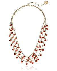 """Anne Klein - """"beacon Gold-tone Red Shaky Drop Necklace - Lyst"""