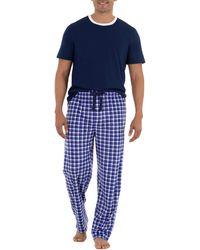 Izod Short Sleeve Jersey Knit Top And Lite Touch Fleece Pants Sleep Set - Blue
