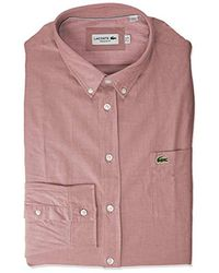 Lacoste Long Sleeve Regular Fit Button Down Solid Oxford Shirt - Pink