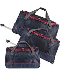 Nautica Wheeled Duffle Travel 3 Piece Large Rolling Lightweight Luggage Bags - Blue