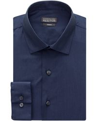 Kenneth Cole Reaction Kenneth Cole Chambray Slim Fit Solid Spread Collar Dress Shirt - Blue