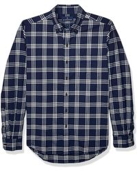Buttoned Down Classic Fit Supima Cotton Brushed Twill Plaid Sport - Blue