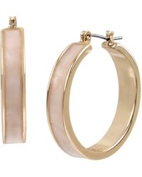 Kenneth Cole Marble Inlay Hoop Earrings - White