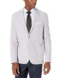 Lacoste Cotton Striped Seersucker Blazer Slim Fit - Blue